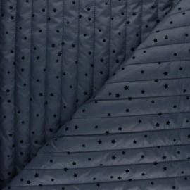 Tissu matelassé doudoune double face étoile velours - bleu houle x 10cm