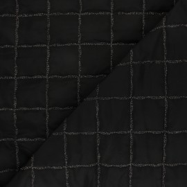 Quilted lining fabric - black Lurex square x 10cm