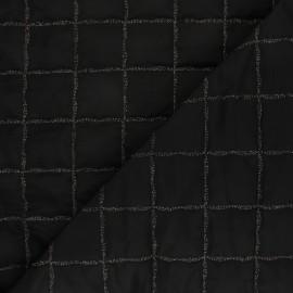 Tissu matelassé doudoune lurex square - noir x 10cm