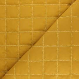 Quilted lining fabric - mustard Lurex square x 10cm