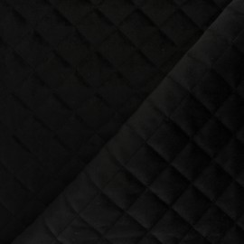 Velvet quilted lining fabric - black  x 10cm