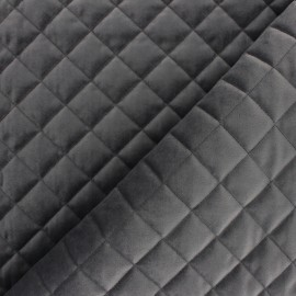 Velvet quilted lining fabric - dark grey Fritz x 10cm