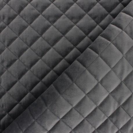 Velvet quilted lining fabric - dark grey Fritz x 10cm