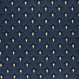 Lurex Jacquard fabric - Blue Éventails x 10cm