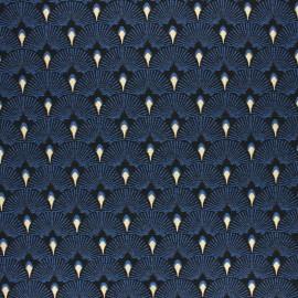 Tissu Jacquard Lurex Éventails - bleu x 10 cm