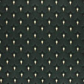 Tissu Jacquard Lurex Éventails - vert x 10 cm