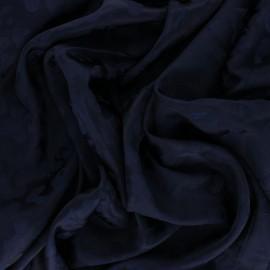 Tissu Doublure Jacquard satiné Léopard - bleu marine x 10cm