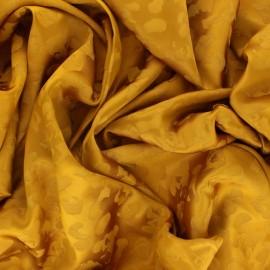 Satin Jacquard Lining Fabric - mustard Léopard x 10cm