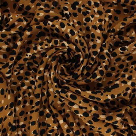 Tissu Crêpe de Viscose Léopard - Ocre x 10cm