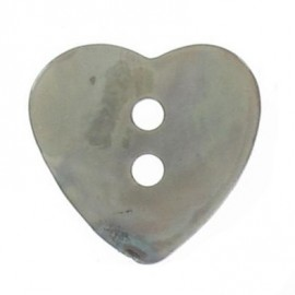 Mother-of-pearl button, heart-shaped - lovat green