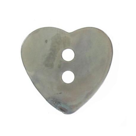 Bouton nacre coeur vert de gris