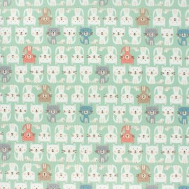 Makower UK cotton fabric - Green Cats Parade x 10cm