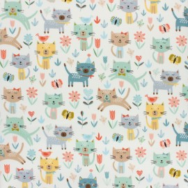 Makower UK cotton fabric - White Cat Jumping x 10cm