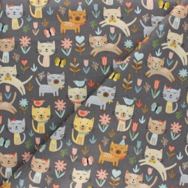 Makower UK cotton fabric - Grey Cat Jumping x 10cm