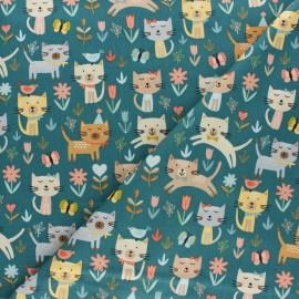 Makower UK cotton fabric - Grey Cat Jumping x 10cm