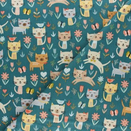 Tissu coton Makower UK Cats Jumping - gris x 10cm