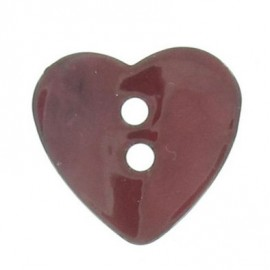 Mother-of-pearl button, heart-shaped - cherry red