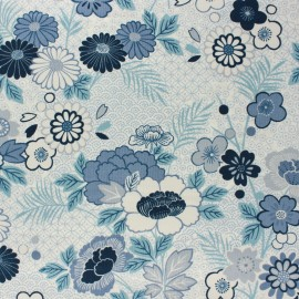 Makower UK cotton fabric - Raw Floral Indigo x 10cm