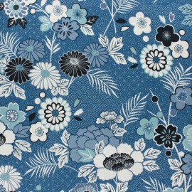 Makower UK cotton fabric - blue Floral Indigo x 10cm