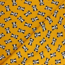 ♥ Coupon 10 cm X 160 cm ♥ Tissu sweat léger Poppy Gentle Panda - moutarde