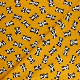 Poppy Sweatshirt fabric - mustard Gentle Panda x 10cm