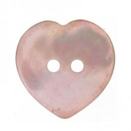 Mother-of-pearl button, heart-shaped - pink