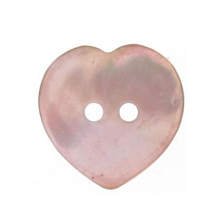 Bouton nacre coeur rose