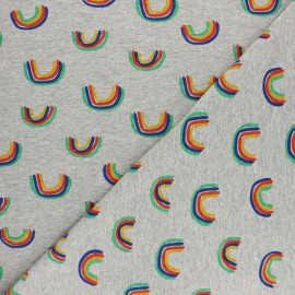 Cotton Jersey fabric - Mottled grey Arc-en-ciel x 10cm
