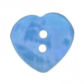 Mother-of-pearl button, heart-shaped - blue