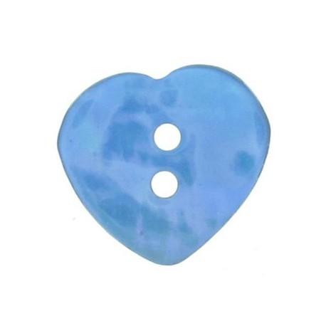 Bouton nacre coeur bleu