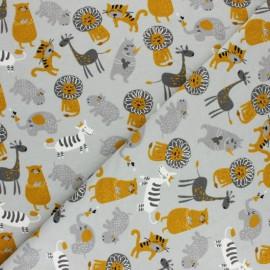 Tissu sweat Savanna animals - gris x 10cm