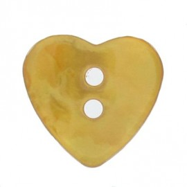 Mother-of-pearl button, heart-shaped - orange