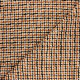 ♥ Coupon 10 cm X 140 cm ♥  Tissu polyviscose élasthanne Carreaux - orange