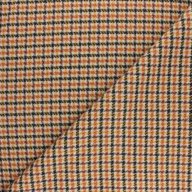 Polyviscose elastane fabric - orange Carreaux x 10cm