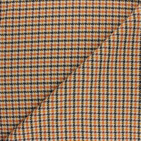 Tissu polyviscose élasthanne Carreaux - orange x 10cm