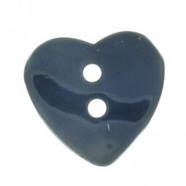 Mother-of-pearl button, heart-shaped - navy blue