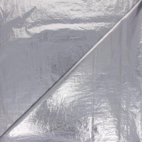 Creased Metallic Polyester Fabric - silver x 10cm