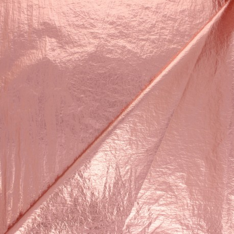 Creased Metallic Polyester Fabric - pink x 10cm