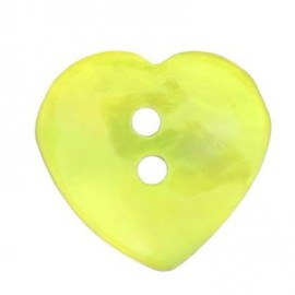 Mother-of-pearl button, heart-shaped - yellow