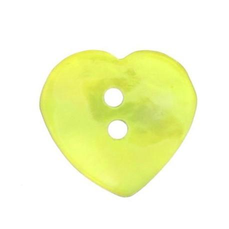 Bouton nacre coeur jaune