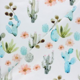 Tissu coton jersey Stenzo Cactus aquarel - écru x 10cm