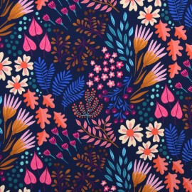 Organic french terry sweatshirt fabric - Navy Bliss Leaves & Kiss x 10 cm