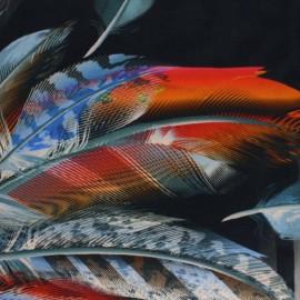 Stenzo Jersey cotton fabric - Black Feather & Fauve x 145 cm