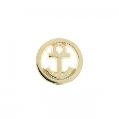 10 mm Metal Button - Gold Little Anchor
