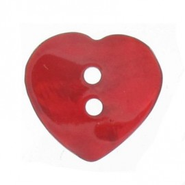 Mother-of-pearl button, heart-shaped - red