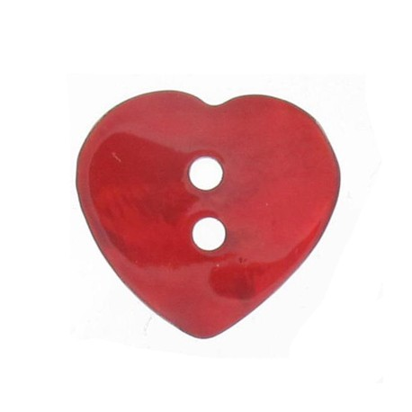 Bouton nacre coeur rouge