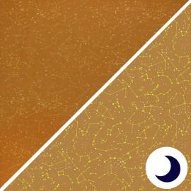 Poppy Phosphorescent Jersey Fabric - ochre Astronomy x 10cm