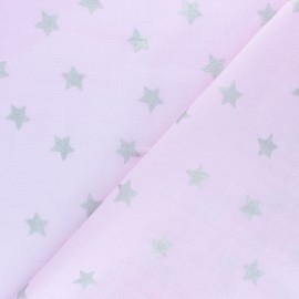 Rico Design double Gauze cotton fabric - pink Star x 10cm