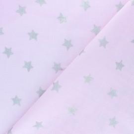 Tissu Double Gaze de coton Rico Design - étoile- rose x 10cm