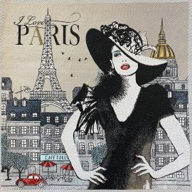 Carré Jacquard Love Paris - beige